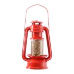 Karmnik dla ptakó w kształcie czerwonej lampy naftowej