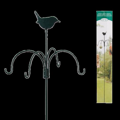 ozdobiony ptaszkiem stojak na akcesoria do karmienia ptaków z hakiem do wbijania