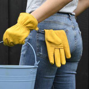 Skórzane rękawiczki do pracy w ogrodzie.