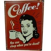 retro szyld reklamujący kawę
