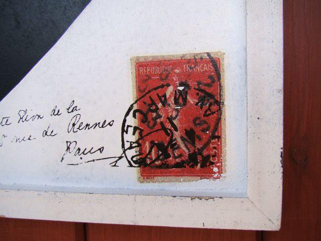 Tablica serce ecru - pocztówka ze znaczkiem