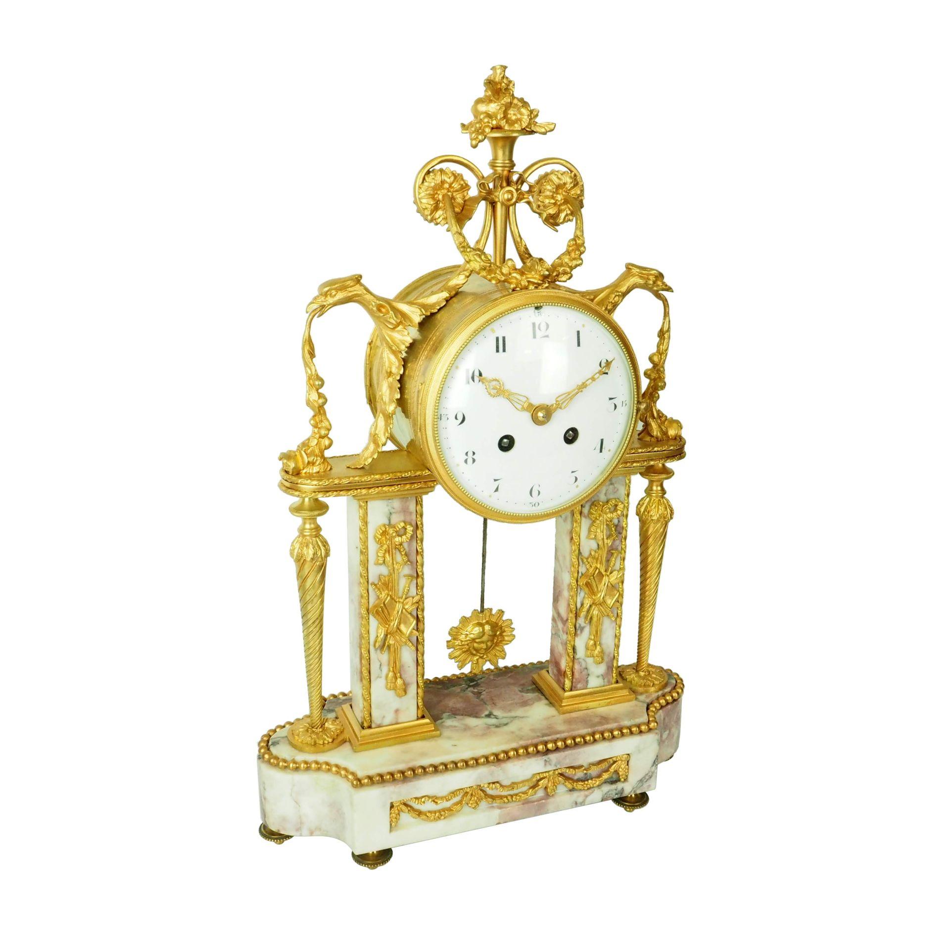 zegar kominkowy na kolumnach kolekcjonerski